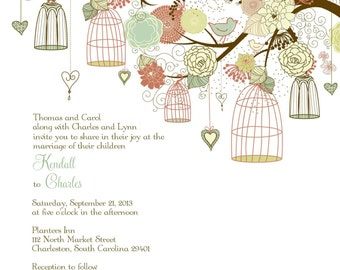 Square birdcage wedding invitations