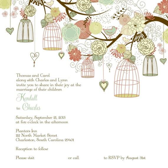 Wedding Invitations Birdcage: Items Similar To Square Birdcage Wedding Invitations On Etsy