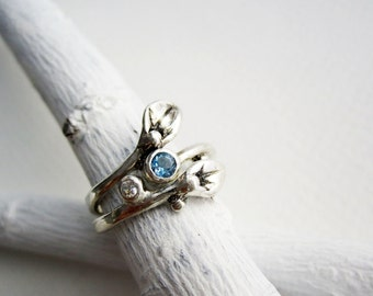 Leaf Ring, Aquamarine, Set of 2 Rings, Small Leaf Silver Rings with White sapphire