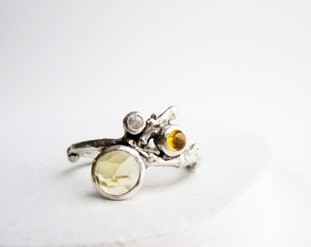 Double Citrine, White Sapphire Silver Twig Ring