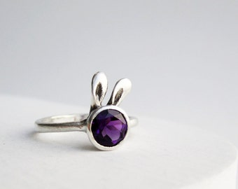 Purple Bunny Ring, Amethyst Sterling Sliver Ring, MADE TO ORDER