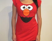 Womens Sesame Street ELMO Custom DIY Sexy Scoop Mini Dress Top