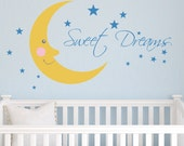 Children Wall Decal Monkey in the Moon with Name Vinyl decal