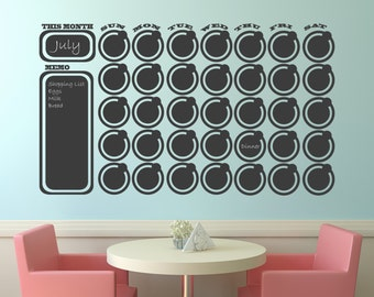 Chalkboard Wall Decal Calendar Wall Decal Memo with free chalk Vinyl Wall Decal