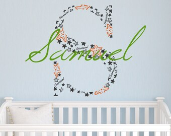Monogram Vinyl Decal Lilly Pulitzer Inspired Monogram Wall Decal