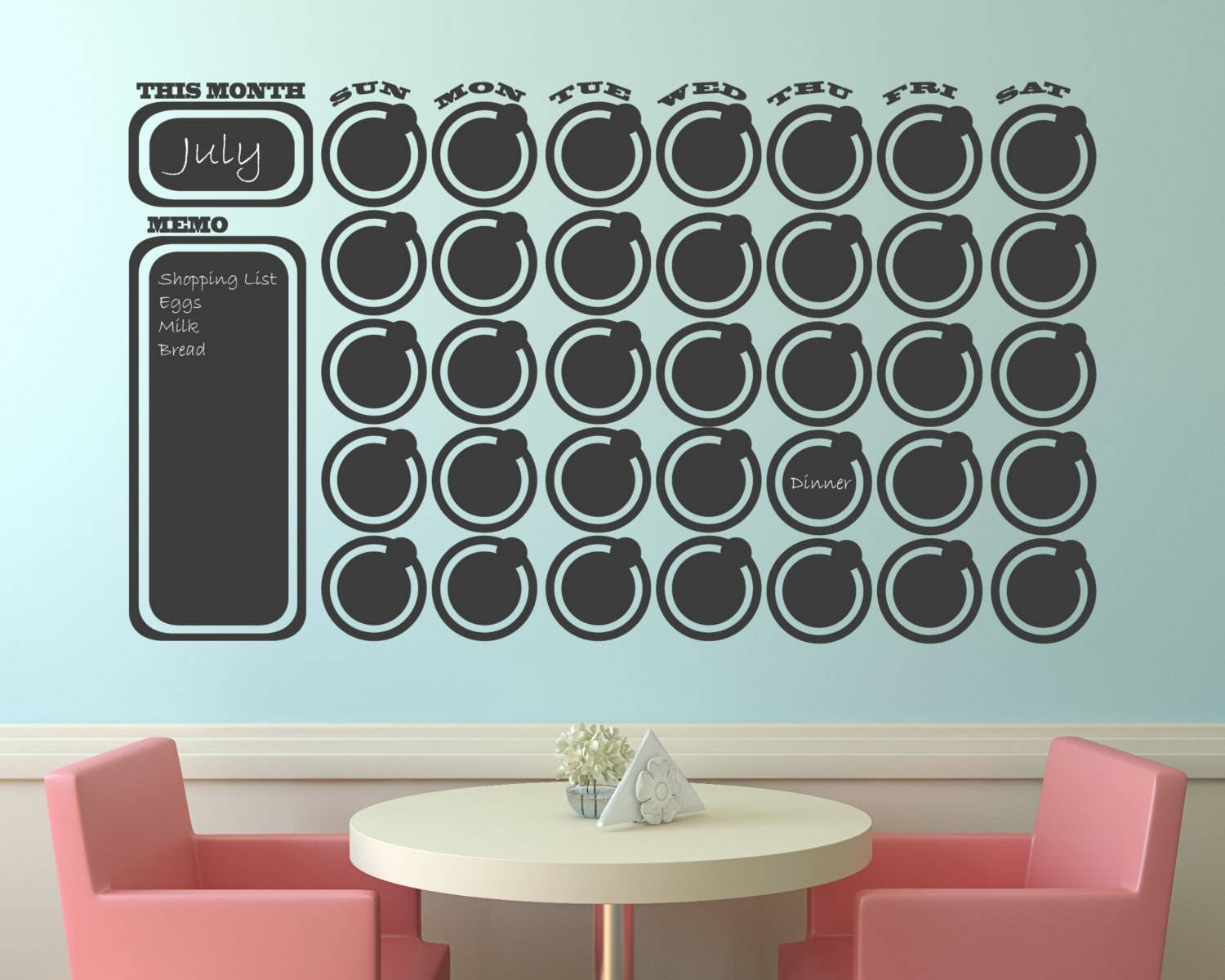 chalkboard wall decal calendar wall decal memo with free chalk - 🔎zoom