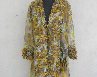 Vintage CHIFFON Robe Lingerie 1960s SHEER Ruffled Floral Print . Brown, Green, Mustard Medium
