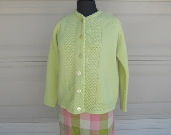 SALE 60s Lime Green Cardigan . Decorative Cable Stitched Mad Men Sweater M-L