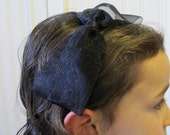 black organza bow headband