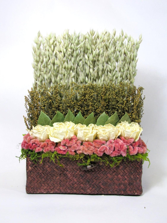 Dried Floral Arrangement Stacked Flower Arrangement Dried