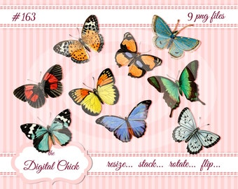 Digital clipart, instant download, Victorian Vintage Butterfly Clip Art Images, printable butterflies, blue yellow orange--9 PNG files   163