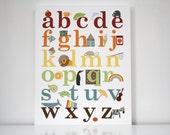"Childrens Art Alphabet Poster Kids Wall Art Canvas ""The Alphabet"" Neutral Colours"