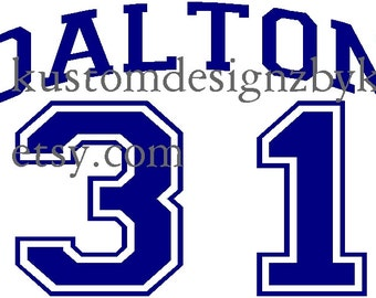 Baseball number and name personalized iron-on shirt decal for black or dark fabric