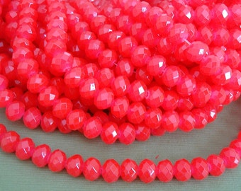 15inch-Red Quartz Glass Faceted Rondelle Beads...8mmx6mm..