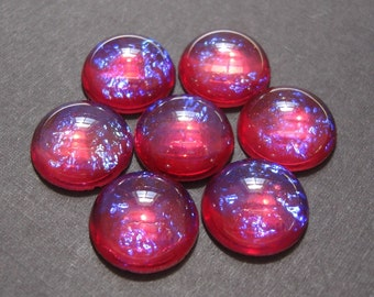 Vintage  Mexican Opal or Dragons Breath Glass 18mm Round Cabochons .
