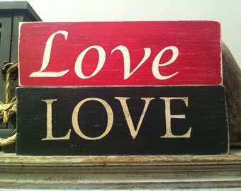 Handmade Distressed Sign -  LOVE  - 28cm - Choice of Colour