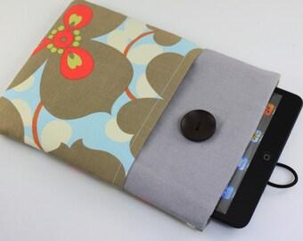 iPad mini Case, iPad mini Sleeve, iPad mini Cover, PADDED - Brown & Red Flowers