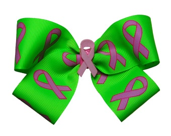 Large Breast Cancer Awareness Hair Bow Find a Cure