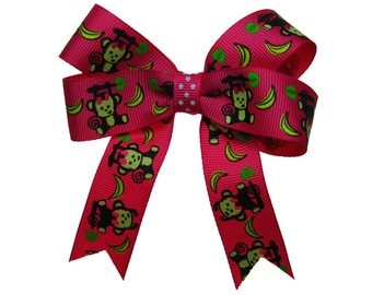 Hot Pink Monkey Hair Bow