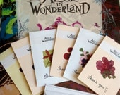 "Alice in Wonderland ""Thank You"" cards (set of 6) -  Talking Flowers, Birthday, Wedding, Party, Tea party"