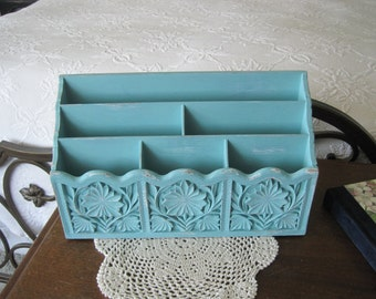 Vintage Desk Organizer Shabby Chic Lerner Up-Cycled & Distressed Here in Icy Blue Or Choose Color