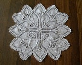 Crocheted Doily, Vintage Ecru Tablecloth, Table Center, 24 inches, 1950s