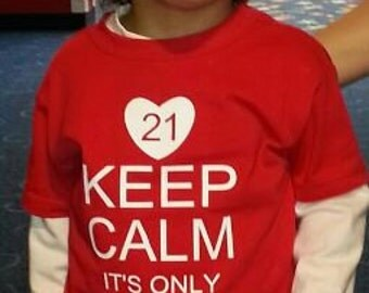Keep Calm it's only an Extra Chromosome Down's Syndrome T-shirt DSA Adult Sizes