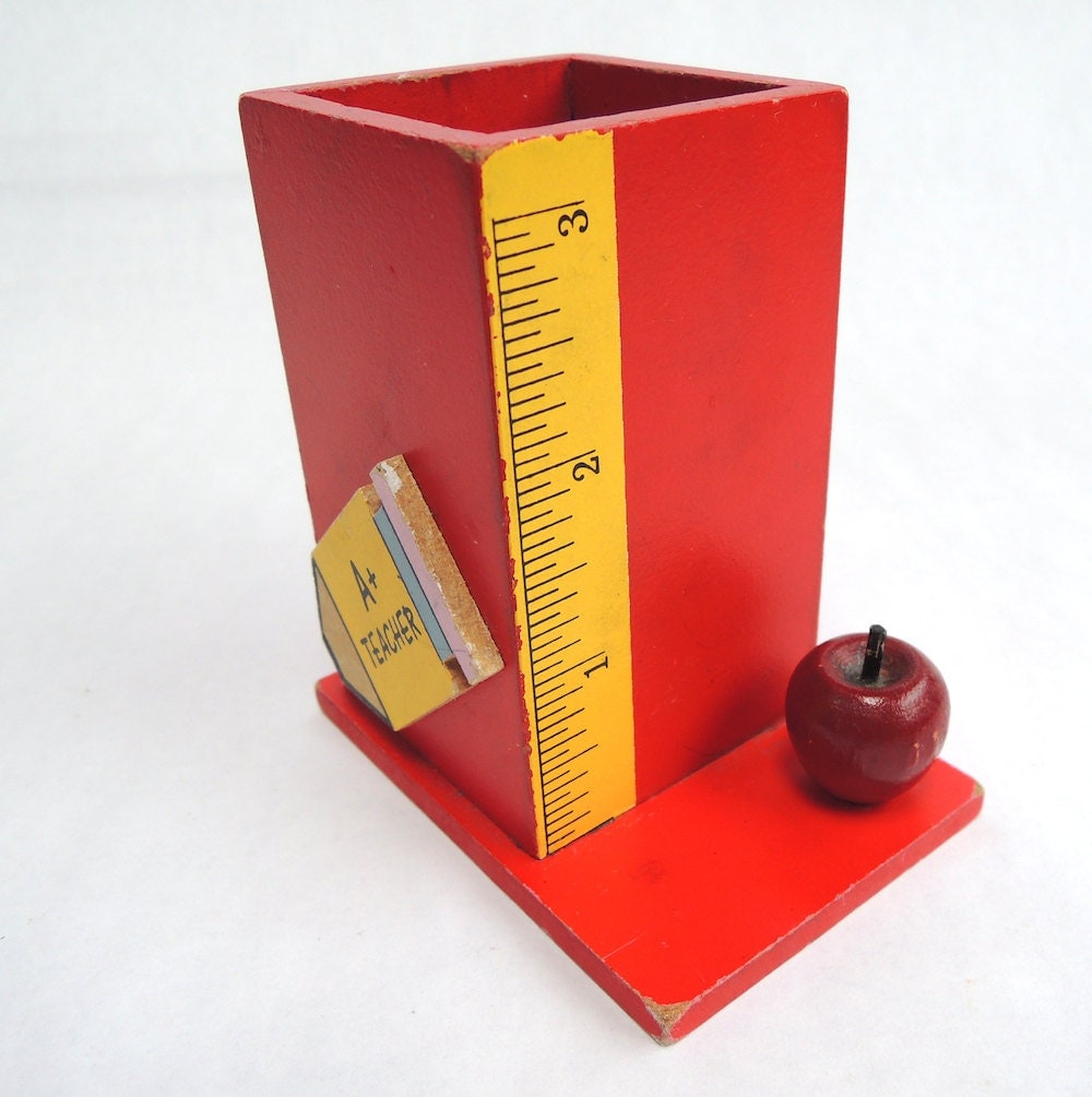 Vintage Teacher Pen Pencil Holder Back To School Desk