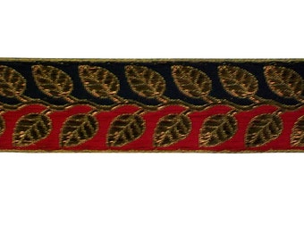 1 Yard  Ribbon in black and red in a  gold and copper leaf design