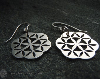 Sterlng silver Flower of Life Earrings on sterling silver earrings hooks