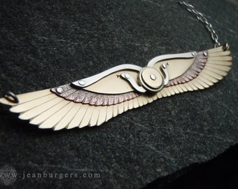 Handcrafted Multi-layered Egyptian Winged Disk Pendant - handcut brass, sterling silver and oxidised copper