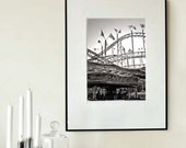 """Large Black and White Fine Art Photography - Carnival Fair Europe -Roller Coaster - 30cmx45cm /12""""x18"""" Size (Can also be custom sized)"""