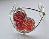 Sterling Silver and Fine Silver  Knitted and Wire Work Genuine Red Sea Glass Cuff Bracelet with large Heart