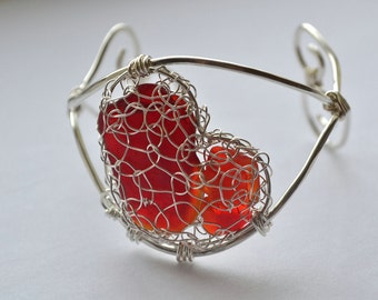 Sterling and fine Silver  Knitted and Wire Work Genuine Red Sea Glass Cuff Bracelet with large Heart