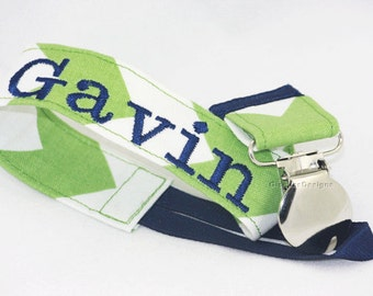 Green and Navy Personalized Pacifier Clip, New Baby Pacifier clip, baby shower gifts