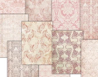 INSTANT DOWNLOAD. Pink red Vintage Digital Papers pastels  damask  Decoupage,  texture papers 10 scrapbooking papers  (tp52)
