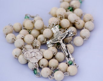 Catholic Handmade Riverstone Gemstone Erinite Swarovski Four-way Medal Sterling Rosary