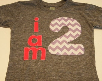 Purple chevron and Hot pink i am 1 Organic Shirt Blend customize colors girls birthday shirt first birthday and up