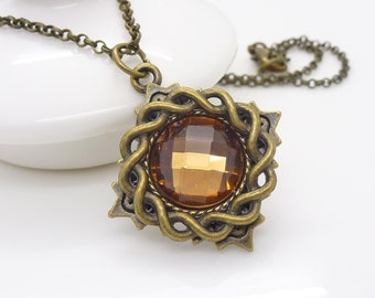 Small topaz brown necklace, Gothic necklace, Light brown Crystal necklace, Antique bronze necklace, Beaded jewellery