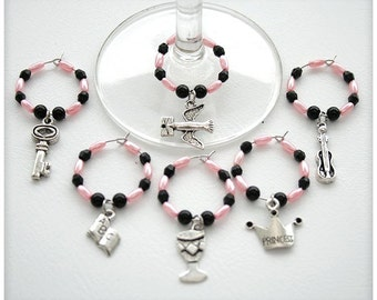 Wine glass charms, PINK and BLACK set, 6 charms. Wine glass rings for party