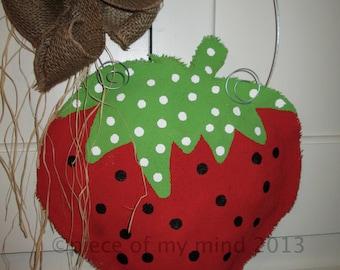 Strawberry Burlap Door Hanging Natural burlap