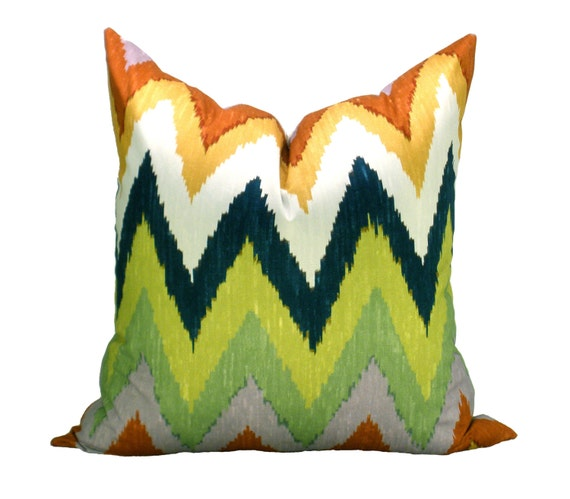 Schumacher Adras ikat pillow cover in Caravan - ON BOTH SIDES
