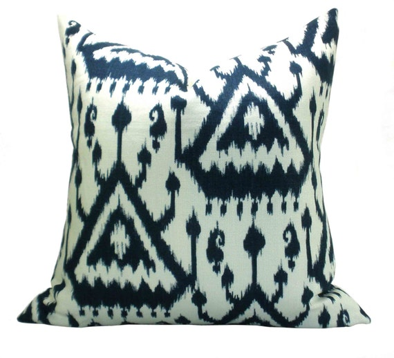 Vientiane Ikat Print pillow cover in Indigo