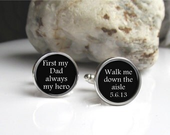 Wedding Cufflinks, Father Of The Bride, Personalized Cufflinks, Keepsake For Men