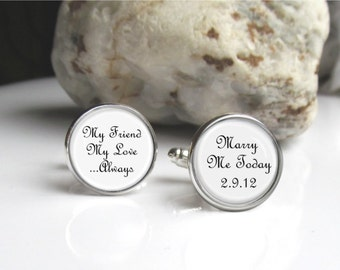 Groom Cufflinks, Personalized With Date, Keepsake Gift For Groom
