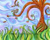 Original Watercolor Spring Breeze Curling Tree in Meadow