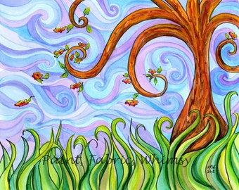 Original Watercolor Spring Breeze Curling Tree in Meadow