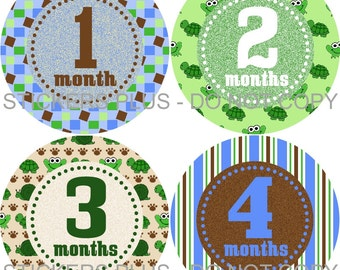 Monthly Baby Boy Stickers Plus FREE Gift PRECUT Milestone Bodysuit Stickers Baby Month Age Sticker Frog Turtle Blue Green 1-12 months