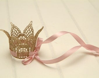 Newborn Crown, Hand Painted Mini Couture Ribbon Crown, Newborn Photography Prop, Lace Crown, Pink or Blue Ribbon, Baby Crown