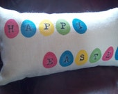 Easter Pillow - Burlap STUFFED Pillow by North Country Comforts - Decorative Pillow -Easter Decorations